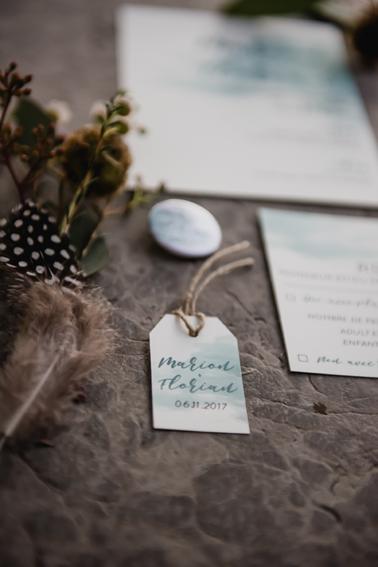Etiquette cadeau mariage Aquarelle Brume