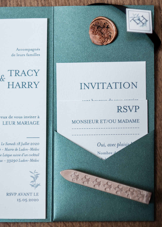 Faire-part mariage Branche olivier avec Pocketfold