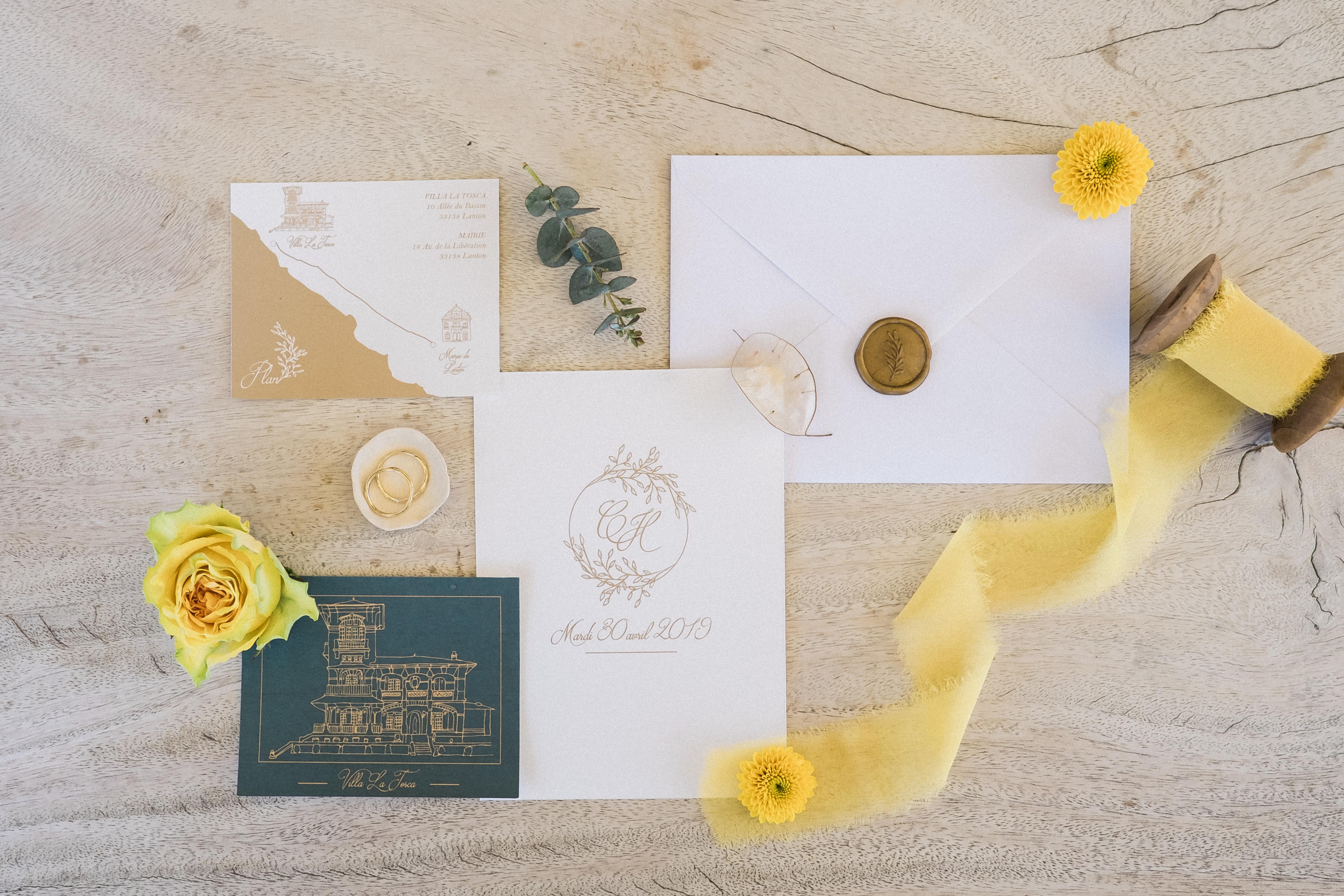 Papeterie mariage élégante couleur émeraude et moutarde