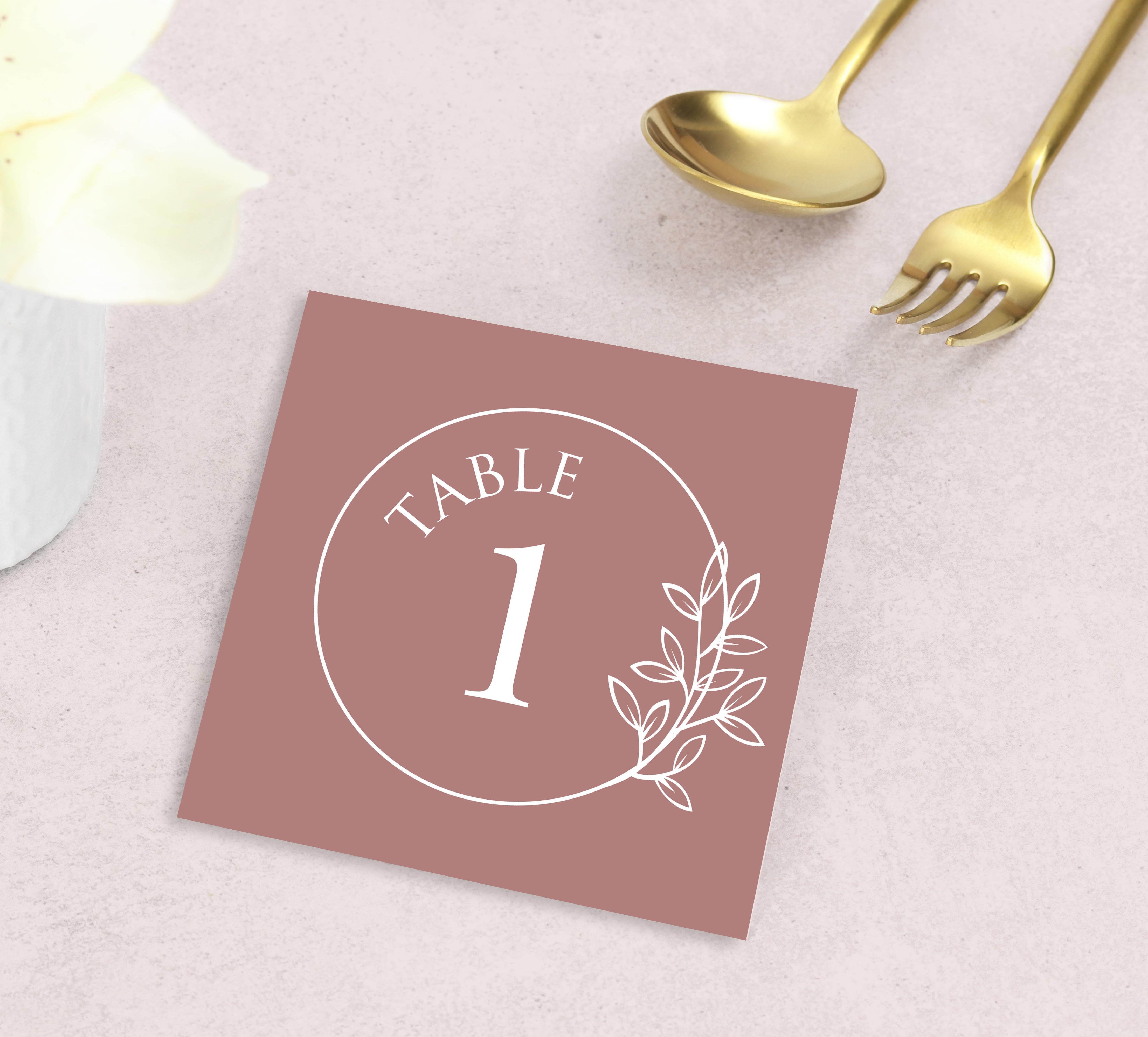 Numéro table mariage Nude et minimaliste