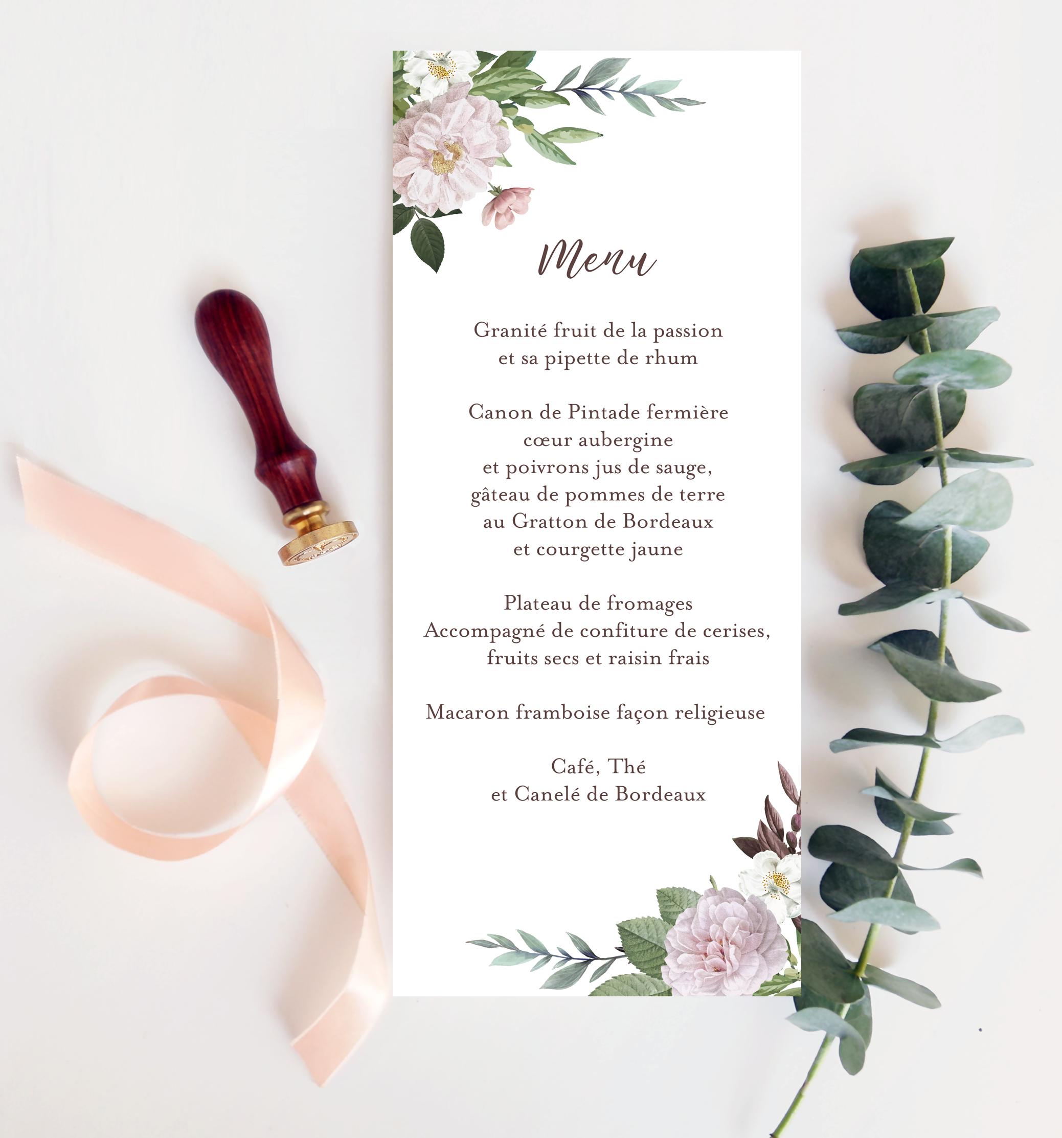 menu mariage Botanique romantique